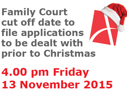 Family Court time frames for Christmas 2015