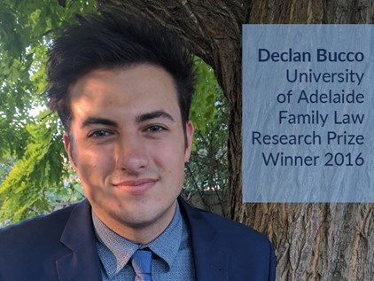 Declan Bucco - winner Uni Adelaide Family Law Research Prize 2016